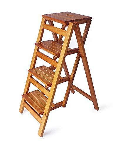 MYAOU Escalera de 4 peldaños, Escalera de Madera, Taburete Plegable