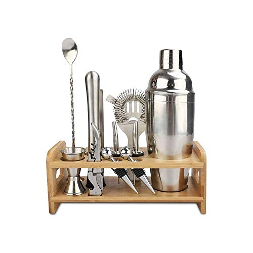 ZOUJIARUI Bar Set Cocktail Shaker Set para la mezcla de bebidas - Herramientas de barras: Martini Shaker, Jigger, colador, cuchara mezcladora de bar, pinzas, abridor de botellas |El mejor kit de barma