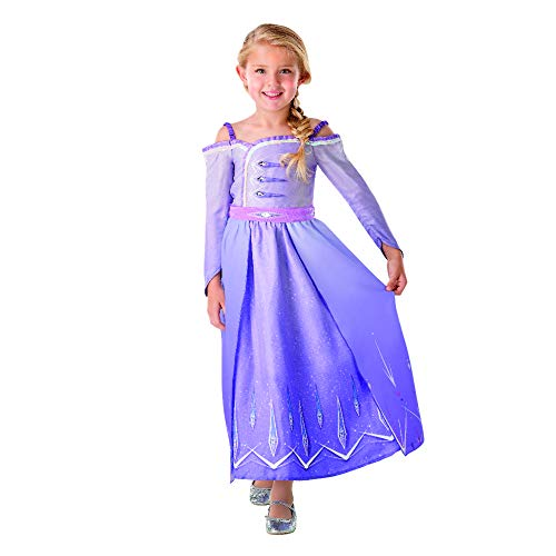 Rubies - Disfraz oficial de Disney Frozen 2, Elsa Deluxe Prlogo para nios, talla grande de 7 a 8 aos