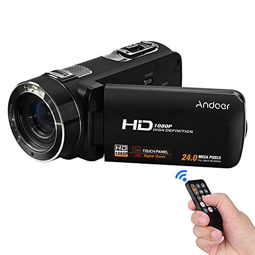 Andoer Camcorder, HDV-Z8 1080P Full HD Digital Video Camera 16× Digital Zoom with Digital Rotation LCD Touch Screen Max. 24 Mega Pixels Support Face Detection