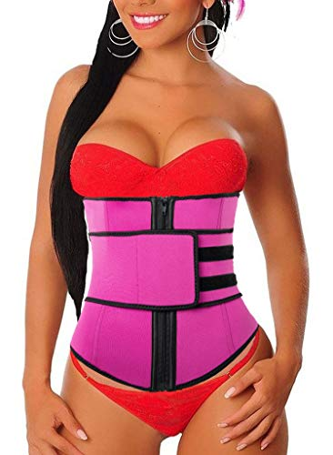 Women's Waist Trainer Weight Loss Corset Trimmer Belt Waist Cincher Body Shaper Slimming Sports Sweat Girdle Underbust Belly Red