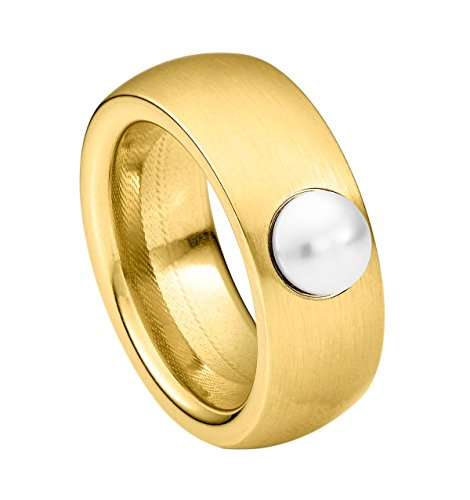 Heideman Ring Damen aus Edelstahl Gold farbend matt Damenring für Frauen mit Swarovski Perle Weiss Cabochon 6mm