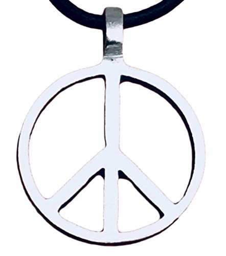 Trilogy Jewelry Pewter Classic Peace Sign Love Hippie Pendant on Leather Necklace