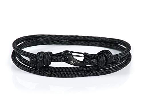 Argento | Karabiner Armband | Edelstahl Karabiner| Herren Wickelarmbänder | Nautische Armbänder für Männer | Paracord Armband | Herrenarmband | (schwarz)