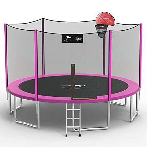Kangaroo Hoppers 15 FT Trampoline with Safety Enclosure Net,...