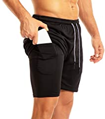Machine wash Train in confidence with this 2 in 1 lightweight shorts made with quick-dry, closed-hole mesh fabric features moisture-wicking and breathablity. Fitted shorts is designed with double layer for all day comfort and full range of motion, th...