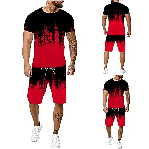 Chándal para hombre con estampado 3D en rojo, 2 piezas, juego de deporte de manga corta, para verano, tiempo libre, pantalones deportivos + camiseta con bolsillos, chándal para hombre, rojo, XXXXXXL