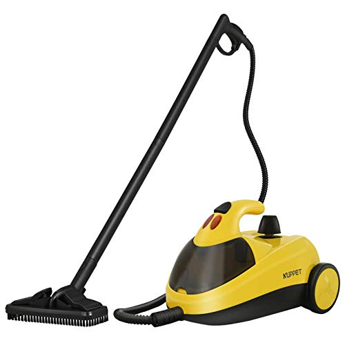 KUPPET Steam Cleaner with Various Accessories with 10Accessories, 1.5L Dual-Tank Rolling Cleaning Machine, Multi-Purpose, Pressurized Steam Cleaning for Most Floors, Carpe, Windows, Autos, Yellow