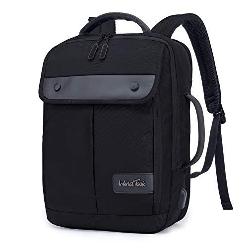 Wind Took Rucksack Herren Laptoprucksack Daypack 15,6 Zoll mit USB Ladeanschluss Daypack Wasserabweisende Laptoptasche mit für Reisen/Business/College, Schwarz
