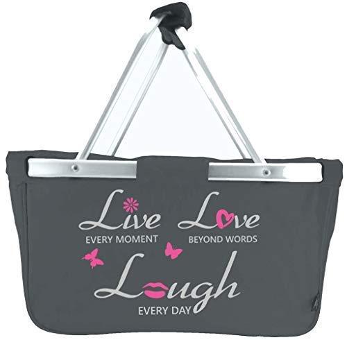 Mein Zwergenland Faltbarer Einkaufskorb Live-Love-Laugh, Korb klappbar 28 L, Faltkorb mit Spruch in Grau