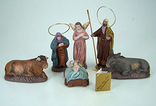 Puig Krippenfiguren aus Spanien HL. Familie 6tlg. 8 cm. Aus Ton, kaschiert