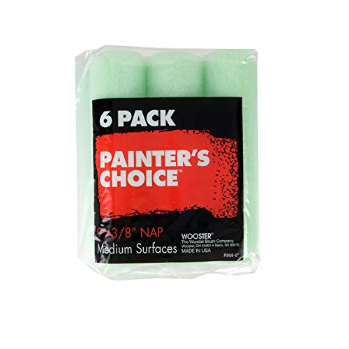 Wooster Brush R959 R959-9 Painter's Choice Roller Cover 3/8 Inch Nap, 6-Pack, 9 Inch
