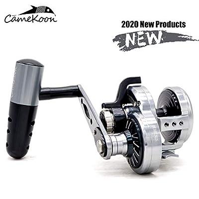CAMEKOON Slow Jigging Fishing Reel, Over 70 LB Carbon Fiber Drag, 9+2 Stainless-Steel Ball Bearings, Conventional Saltwater Lever Drag Fishing Reel