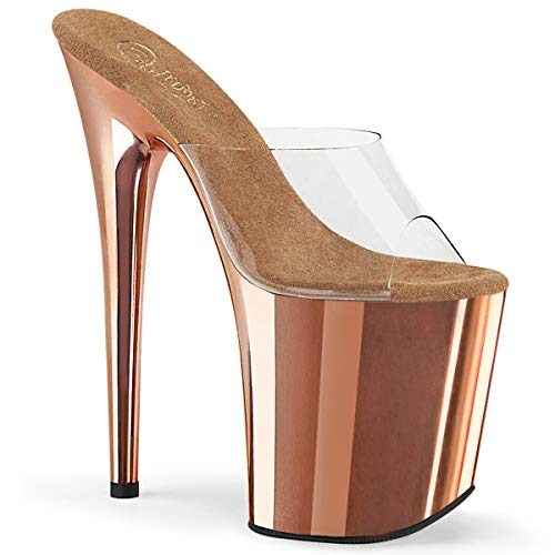 Pleaser Damen FLAMINGO-801 Plateau High Heels Pantolette Rose Gold 38 EU