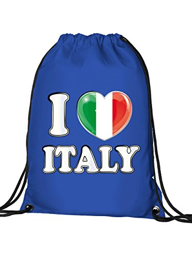 Golebros Italien Italia Italy Fan Artikel 4774 Fuss Ball Turn Sport Beutel Unisex EM 2020 WM 2022 Trikot Look Flagge Fahne Kinder Kids Junge Mädchen Blau