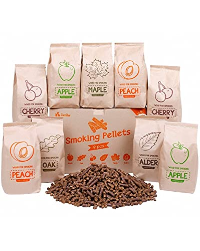 Smoker Wood Pellets Variety Pack of 9 pcs - Premium Cooking Pellet for All Type of Smokers, Electric or Gas Grills- About 12 lb