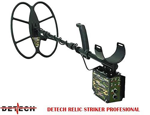 DETECH Detector de Metales Relic Striker 4,8 kHz VLF con Bobina SEF de 18 x 15 Pulgadas, Sistema de batería Recargable, con una Caja de Dibujos Animados de Lujo incluida