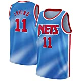 WJP Camiseta De Baloncesto para Hombre - Camiseta De Kyrie Irving - Brooklyn Nets # 11 Uniforme De Baloncesto, Chaleco Deportivo De Malla Bordado Swingman Blue-L