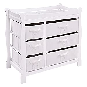 Costzon Baby Changing Table, Newborn Nursery Station w/Pad & Hamper, Sleigh Style Nursery Dresser Changing Table, Infant Diaper Changing Table Organization(White/ 6 Baskets)