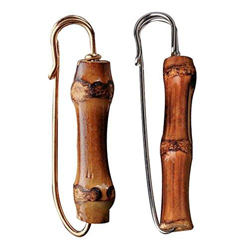 sharprepublic 2 Stücke Vintage Bambus Holz Anstecknadel Große Sicherheitsnadeln Brosche Für Strickjacke Schal Pullover Hut Decor