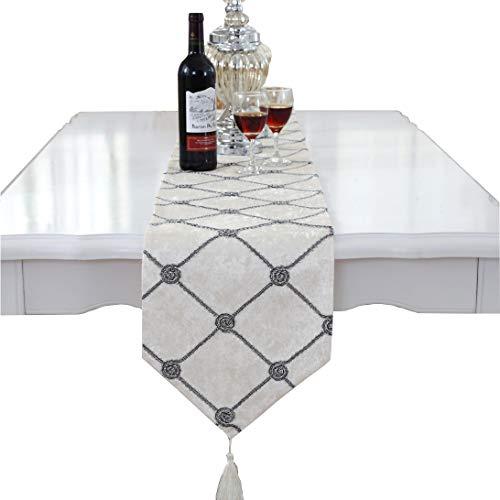 """Camino de mesa y manteles individuales, de cuadrados, de Lujo, Blanco, 28cm x 210cm(11"""" x 82.5"""")"""