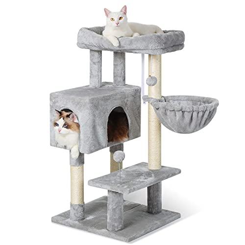 rabbitgoo Rascador para Gatos Grandes 97CM con Base Ajustable, Condominio para Gatos de Varios Niveles, Arbol Rascador para Gatos con Percha Grande y Bolas Felpadas para Gatos Descasar & Rascar, Gris