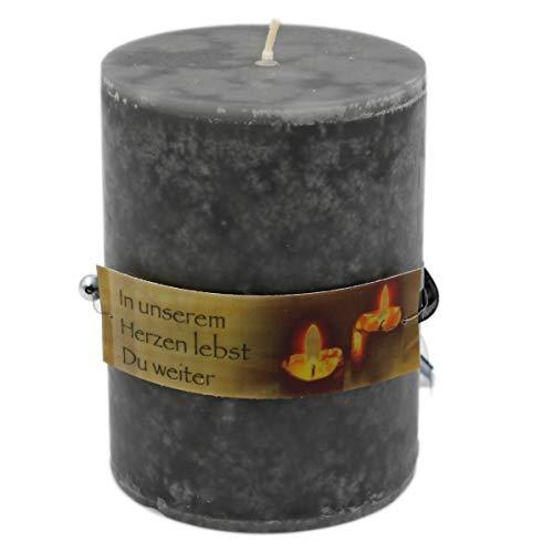 WB wohn trends Rustik Trauer-Kerze mit Duft, In unserem Herzen lebst Du weiter, Trauer-Spruch 12x8,7cm