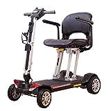 YQTXDS Patinete de Movilidad de 4 Ruedas Plegable - Patinete motorizado Compacto portátil Aprobado por la aerolínea 44Lbs Light (Silla de Ruedas)