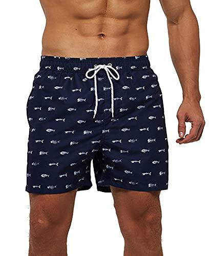 ZIOOER Bañador para hombre de secado rápido, bañador de verano, pantalones cortos para playa, pantalones cortos de entrenamiento con forro de malla M-3XL Grades L