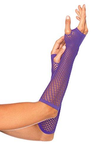 Leg Avenue Unisex's OS Triangle Net Fingerless Gloves, Neon Purple, One Size