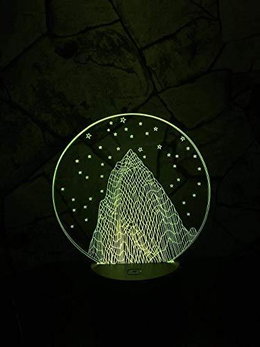Romantisch 3D-nachtlampje, sneeuwsterren, bergen, LED-licht, 3D-illusie status, kunst, nieuw, verlichting voor bruid, kerstcadeau, innovatief gadget, 7 kleuren wisselende aanrakingen.