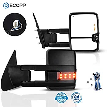 ECCPP for Toyota for Tundra Towing Mirrors Rear View Mirrors for 2007-2015 for Toyota for Tundra Truck with Power Heated Reflector Turn Signal Manual Extending and Black Texture Housing
