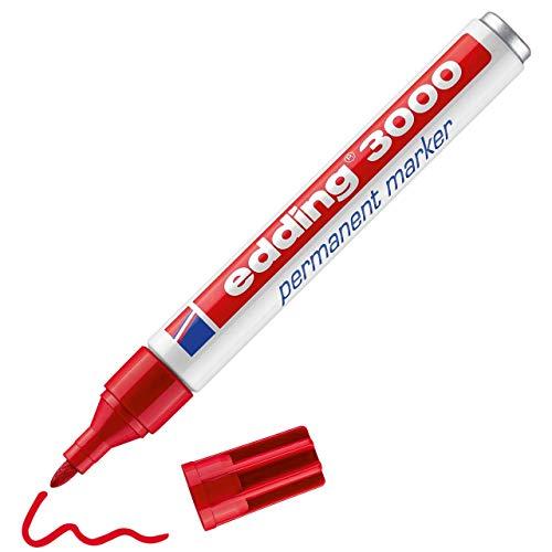Edding 3000 marcador permanente - rojo - 1 rotulador - punta redonda 1.5-3 mm - indeleble de secado rápido - resistente al agua y a los borrones - cartón, plástico, madera, metal, tela - universal