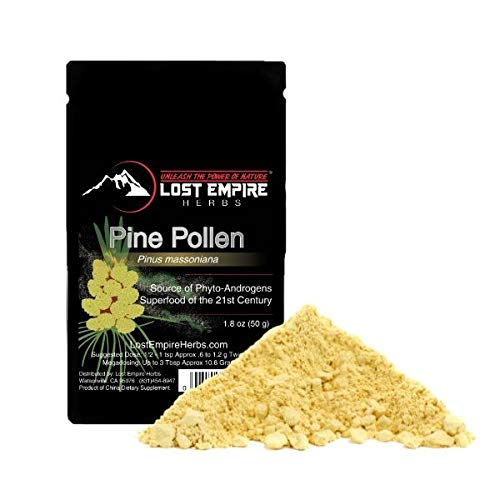 Pine Pollen Wild-Harvested Pine Pollen (50 Gram) - Premium Grade, Non Irradiated, Cell Wall Cracked, 3rd Party Tested, Traceable to Source, 365 Day MBG