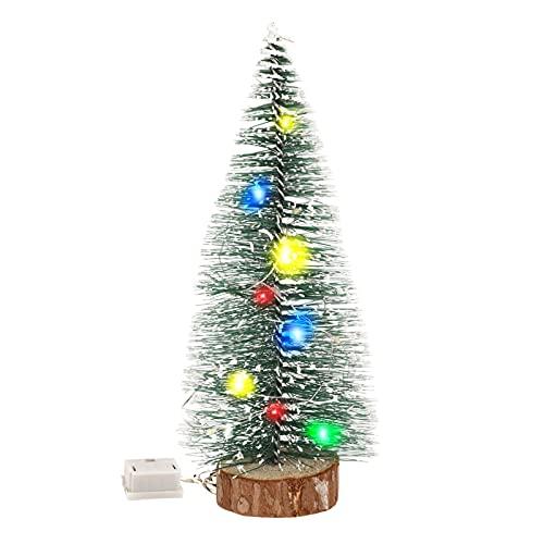 Mini Árbol de Navidad Achort Árbol de Navidad Artificial, Mini Navidad Verde Árbol Mini Madera Árbol De Nieve con Luces de Cadena de 1,2 m / 3,8 pies para Navidad Decoración Micro Paisaje