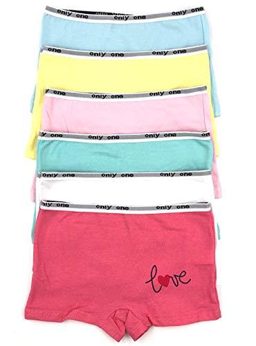 Bixtra Mädchen Hipster Panties 6er Pack Stretch Baumwolle Farbset 104 bis 146 (128-134, Mehrfarbig Love)