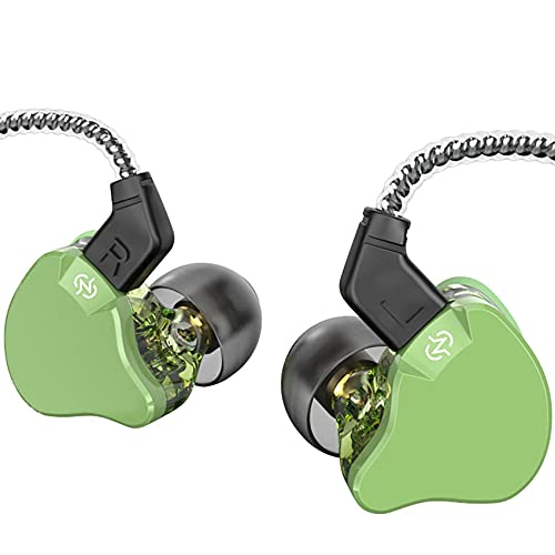 Yinyoo Ear Monitors CCZ Emerald Bass in-Ear Earphones Headphones Without Microphone Wired Earbuds IEM Earphones with 1DD 1BA, Detachable Cable for Smart Phones/PC/Tablet(Without mic, Green)