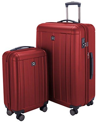 HAUPTSTADTKOFFER - Kotti - 2er Koffer-Set Trolley-Set Rollkoffer Reisekoffer, TSA, (S & L), Rot matt