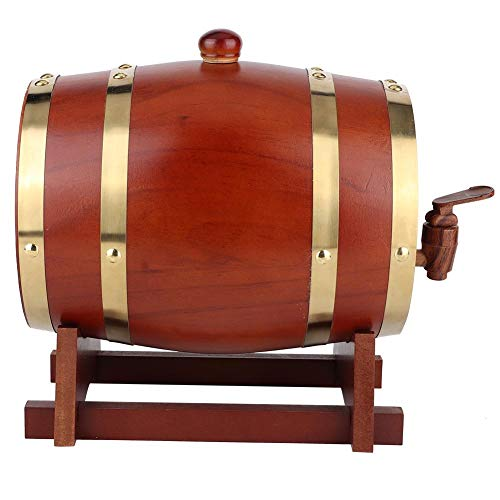 Barril de whisky, barril de cerveza de madera, barril de vino de pino vintage 3L Barril de vino Barril de cerveza Dispensador de cerveza para vino, tequila, whisky, ron, etc.(Marrón Oscuro 3L)
