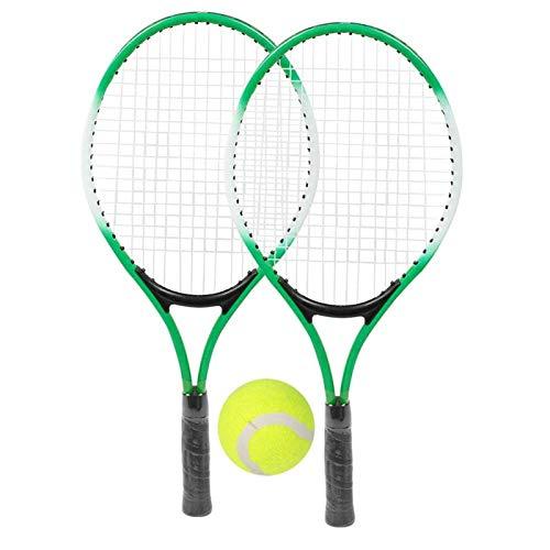 Raqueta de Tenis para niños Raqueta de Tenis de aleación de Hierro Accesorio de Raqueta de práctica para Principiantes con Pelota y Bolsa de Transporte para niños(Verde)