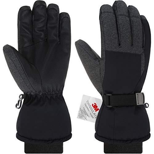 Andake Ski Handschuhe, Herren 3M Thinsulate Warm Winterhandschuhe Wasserdicht Winddicht Touchscreen Sporthandschuhe (Schwarz, M)