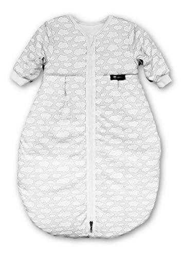 Alvi Schlafsack Mäxchen Thermo mit Arm | Babyschlafsack ÖKO-TEX zertifiziert | Alvi Außensack mit Arm | Winterschlafsack 3,0 TOG, Größe:110, Design:Wolke silber 653-9