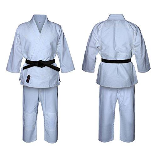 V-sports Traje de judo blanco blanqueado uniforme de judo, trajes de judo para adultos, kimono de judo blanco (0/130cm)