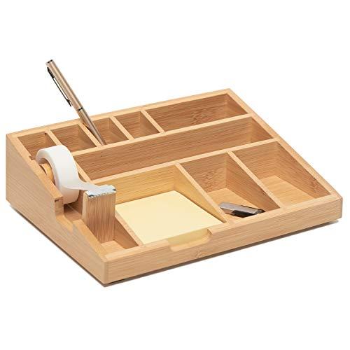 VONSALEN Organizador de escritorio de madera de bambú con 8 compartimentos, organizador de oficina con cinta adhesiva y notas adhesivas. Sistema de organización atemporal para escritorio ✅
