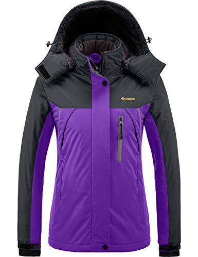 GEMYSE wasserdichte Berg-Skijacke für Frauen Winddichte Fleece Outdoor-Winterjacke mit Kapuze (Lila Grau,L)