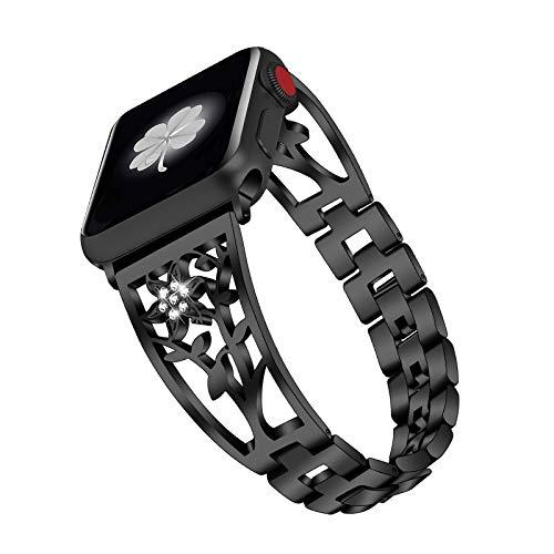 Fhony Rhinestone Diamond Watch Band Compatible con Apple Watch 38 mm 40 mm 42 mm 44 mm Correa Acero Inoxidable Correa Pulsera de Repuesto para Apple Watch SE/6/5/4/3/2/1,Negro,38/40mm