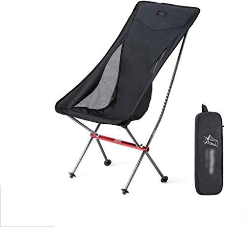ZHLFDC Tragbare Folding Camping-Stuhl, Liegestühle Folding Leicht, leicht und robust Außensitz, Geeignet for Rasen, Sport, Jagd, Picknick, Reise, 2 Farben (Farbe: Schwarz) (Color : Schwarz)