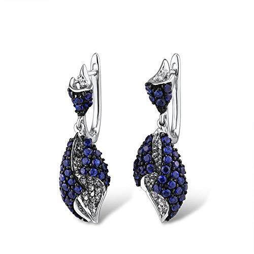 DEYUOIJ Pendientes de Oro para Mujer 14K 585 Genuino Oro Blanco Rosa Diamante Brillante Zafiro Azul Pendientes Colgantes Joyería Fina