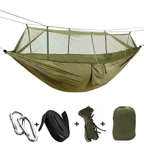 Lzcaure Hamaca de camping Hamaca con mosquitero portátil de nylon tienda colgante cama al aire libre para senderismo viajes mochileros playa patio trasero