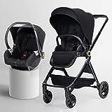 KHUY Passeggino Leggero Baby Jogger Passeggino - Compatto, Leggero Passeggino |Quick Fold Passeggino, Libero Tractive Tessitura, Grande Cestino di immagazzinaggio (Color : Black, Size : B)